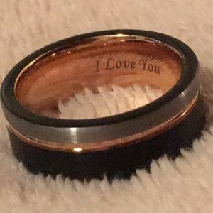 Other - Tungsten Rose Gold Silver Black Ring 8mm Men Women